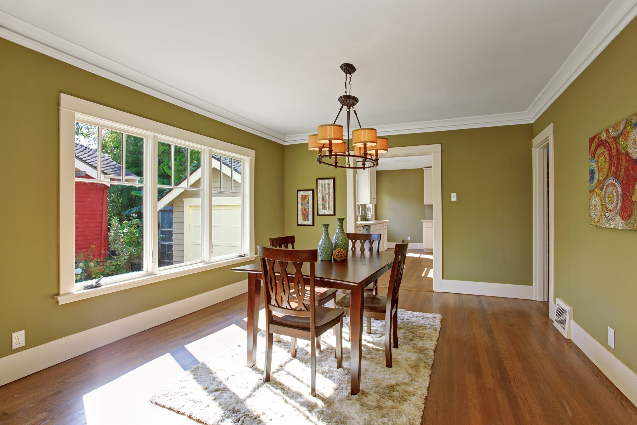 Olive color dining room freshly painted