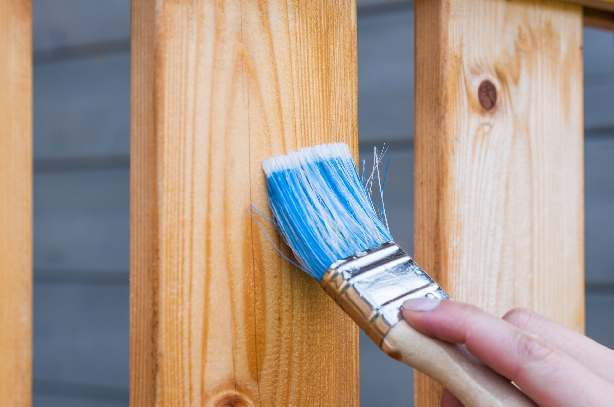 Painter Staining a wood Fence